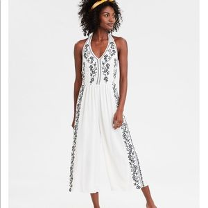 American Eagle Embroidered Halter Jumpsuit
